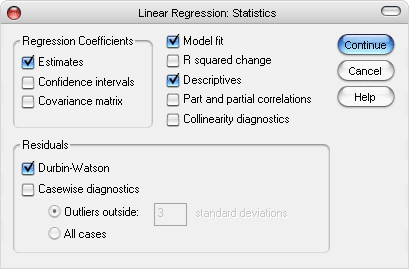 Dialog Box Linear Regression: Statistics
