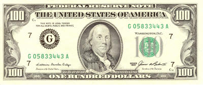 Franklin 100 US Dollars