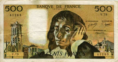 Blaise Pascal on the 500 French Franc